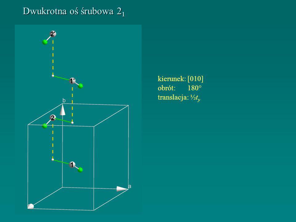 Dwukrotna oś śrubowa 21 kierunek: [010] obrót: 180° translacja: ½ty